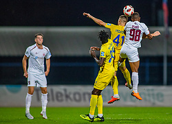 41# Gnezda Cerin Adam of Domzale and 98# Osikel Joel of Triglav during football match between Domzale and NK Triglav Kranj in 1. Slovenian National League, on September 16, 2018 in Sports park Domzale Ljubljana, Ljubljana, Slovenia. Photo by Urban Meglic / Sportida