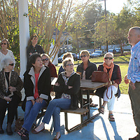 RAY VAN DUSEN/BUY AT PHOTOS.MONROECOUNTYJOURNAL.COM<br /> Bobby Watkins, right, answers questions of members of Riverview Garden Club for their October meeting at Acker Park. Watkins spoke about renovations made to the park and the volunteer effort behind it.
