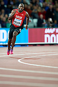 Great Britain, London - 2017 August 09: Alex Wilson from Switzerland competes in men&rsquo;s 200 meters semi final during IAAF World Championships London 2017 Day 6 at London Stadium on August 09, 2017 in London, Great Britain.<br /> <br /> Mandatory credit:<br /> Photo by &copy; Adam Nurkiewicz<br /> <br /> Adam Nurkiewicz declares that he has no rights to the image of people at the photographs of his authorship.<br /> <br /> Picture also available in RAW (NEF) or TIFF format on special request.<br /> <br /> Any editorial, commercial or promotional use requires written permission from the author of image.