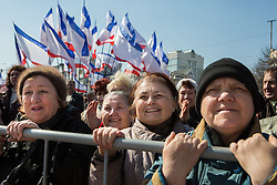 Crimea one day before the referendum. Ladies enjoy the music and performs in a Pro Russian rally  at Simferopol's Lenin Square. Simferopol, . Saturday, 15th March 2014. Picture by Daniel Leal-Olivas / i-Images