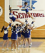 Wallkill cheerleaders perform during the Mid-Hudson Athletic League girls' basketball championship game against John A. Coleman at Ulster County Community College in Stone Ridge on Friday, Feb. 18, 2011.