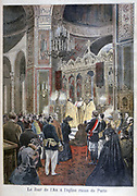 Celebration of the New Year at the Russian Orthodox church in Paris.  From 'Le Petit Journal', 29 January 1894. France, Religion, Christian