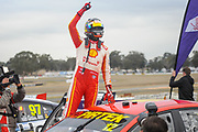 20th May 2018, Winton Motor Raceway, Victoria, Australia; Winton Supercars Supersprint Motor Racing; Fabian Coulthard celebrates after he drove the number 12 DJR Team Penske Ford Falcon FG X to victory