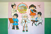 GOBI DESERT, MONGOLIA..08/31/2001.School at Bayangovi. Murals with scenes from Mongolian society..(Photo by Heimo Aga).