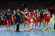 Norway players celebrate during the EHF 2018 Men's European Championship, 2nd Round, Handball match between Serbia and Norway on January 18, 2018 at the Arena in Zagreb, Croatia - Photo Laurent Lairys / ProSportsImages / DPPI