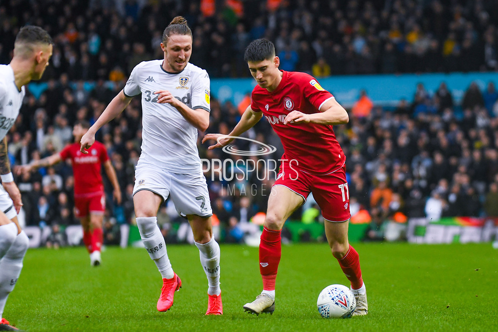 Bristol City midfielder Callum O'Dowda (11) and Leeds United defender Luke Ayling (2) during the EFL Sky Bet Championship match between Leeds United and Bristol City at Elland Road, Leeds, England on 15 February 2020.