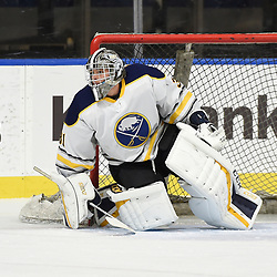 BUFFALO, NY - SEP 19,  2017: Ontario Junior Hockey League Governors Showcase game between the Buffalo Jr. Sabres and the Whitby Fury, Brian George #31 of the Buffalo Jr. Sabres protects the crease during the first period.<br /> (Photo by Andy Corneau / OJHL Images)