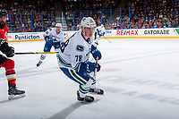 PENTICTON, CANADA - SEPTEMBER 10: Kole Lind #78 of Vancouver Canucks skates against the Calgary Flames on September 10, 2017 at the South Okanagan Event Centre in Penticton, British Columbia, Canada.  (Photo by Marissa Baecker/Shoot the Breeze)  *** Local Caption ***