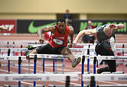 Mar 4, 2017; Albuquerque, NM, USA: Japheth Cato runs 8.04 for the top time in the heptathlon 60m hurdles during the USA Indoor Championships at Albuquerque Convention Center.