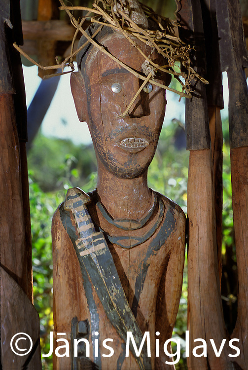A small statue called a Waka, is a way to honor fallen heroes, in a Konso in Ethiopia's Omo river region, Africa.
