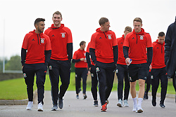 CARDIFF, WALES - Friday, October 7, 2016: Wales' Neil Taylor, Sam Vokes, Andy King and Chris Gunter during a team walk at the Vale Resort ahead of the 2018 FIFA World Cup Qualifying Group D match against Georgia. (Pic by David Rawcliffe/Propaganda)
