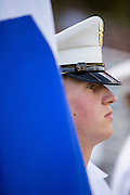 A member of the Citadel Military College corps of cadets stands in formation during the first Friday Dress Parade on September 6, 2013 in Charleston, South Carolina. The Friday Dress Parade is a tradition at the Citadel going back to 1843.