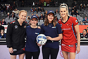 ANZ Future Captains Emma Waugh (L) and Ava Gill (R) pose with Magic captain Samantha Sinclair and Tactix captain Jane Watson ahead of the ANZ Premiership netball match - Magic v Tactix played at Claudelands Arena, Hamilton, New Zealand on 30 July 2018.<br /> <br /> Copyright photo: © Bruce Lim / www.photosport.nz