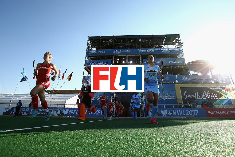 JOHANNESBURG, SOUTH AFRICA - JULY 18: The England and India teams run out prior to the Quarter Final match between England and India during the FIH Hockey World League - Women's Semi Finals on July 18, 2017 in Johannesburg, South Africa.  (Photo by Jan Kruger/Getty Images for FIH)