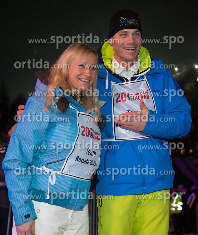 14.01.2013, Hermann Maier Weltcupstrecke, Flachau, AUT, FIS Weltcup Ski Alpin, Legendenrennen, im Bild Renate Goetschl und Michael Walchhofer // Renate Goetschl und Michael Walchhofer during Legend race of the FIS Ski Alpine World Cup at the Hermann Maier World Cup trackside, Flachau, Austria on 2013/01/14. EXPA Pictures © 2013, PhotoCredit: EXPA/ Johann Groder