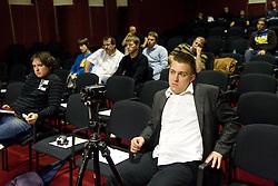 Anze Blazic na okrogli mizi o izzivih slovenske kosarke na podrocju dela z mladimi, ki bodo v nekaj letih zastopali tudi barve slovenske vrhunske kosarke  v organizaciji drustva SportForum Slovenija, 4.  oktober 2010, Dvorana Mercurius, BTC, Ljubljana, Slovenija. (Photo by Vid Ponikvar / Sportida)