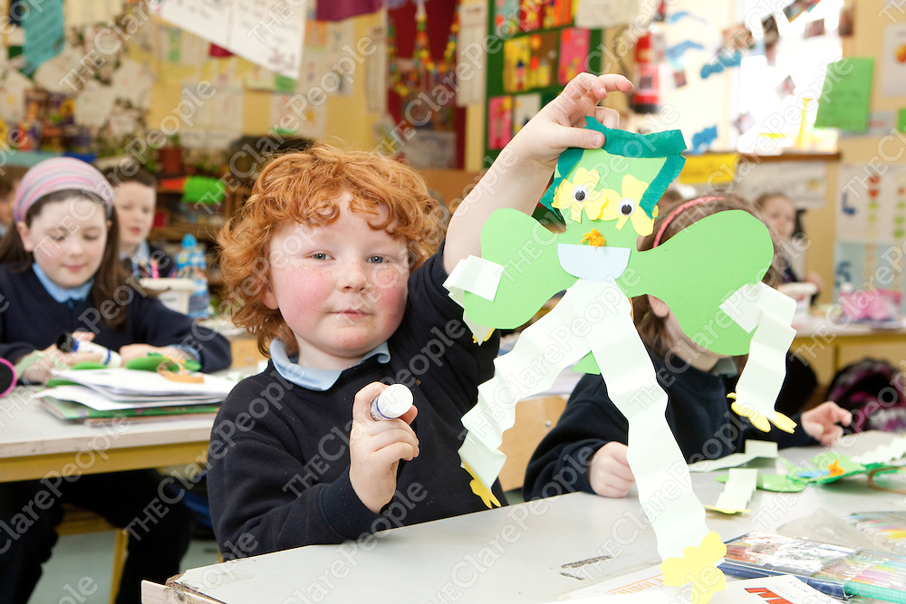 Fionn O'Donoghue making a Shamrock for St Patricks day  in Mullagh National School Mullagh Co.Clare.<br /> Pictured Credit Brian Gavin Press 22