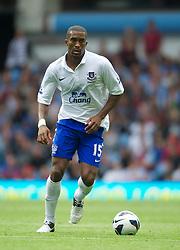 BIRMINGHAM, ENGLAND - Saturday, August 25, 2012: Everton's Sylvain Distin in action against Aston Villa during the Premiership match at Villa Park. (Pic by David Rawcliffe/Propaganda)