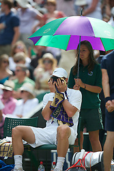 LONDON, ENGLAND - Sunday, July 4th, 2010: Tomas Berdych (CZE) looks dejected during the Gentlemen's Singles Final match on day thirteen of the Wimbledon Lawn Tennis Championships at the All England Lawn Tennis and Croquet Club. (Pic by David Rawcliffe/Propaganda)