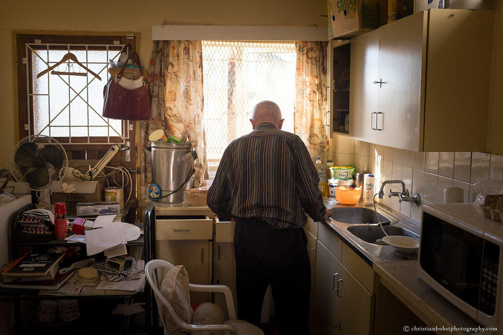 (2013) Father Hermann in the kitchen of his small two room appartment.