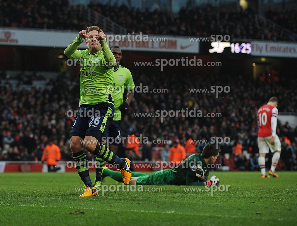 23.02.2013, Emirates Stadion, London, ENG, Premier League, FC Arsenal vs Aston Villa, 27. Runde, im Bild Andreas Weimann Celebrates Scoring goal during the English Premier League 27th round match between Arsenal FC and Aston Villa at the Emirates Stadium, London, Great Britain on 2013/02/23. EXPA Pictures © 2013, PhotoCredit: EXPA/ Propagandaphoto/ Robin Parker..***** ATTENTION - OUT OF ENG, GBR, UK *****