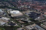 Leeuwarden - Luchtfoto nieuwe Elfstedenhal. Tevens WTC Expo en toekomstige locatie van het nieuwe Cambuurstadion.
