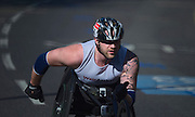 London. United Kingdom. 2014 London Marathon. wheel chair race, No. 56, Stuart BLOOR, GBR, through  Narrow Street, Limehouse, East London. Athletics 10:00:29  Sunday  13/04/2014  [Mandatory Credit; Peter SPURRIER/ Intersport Images],