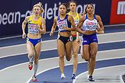 Tetyana Petlyuk (Ukraine), Renelle Lamote (France), Shelayna Oskan-Clarke (Great Britain), Women's 800m Heat, during the European Athletics Indoor Championships 2019 at Emirates Arena, Glasgow, United Kingdom on 1 March 2019.