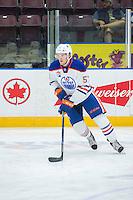 PENTICTON, CANADA - SEPTEMBER 17: Collin Shirley #57 of Edmonton Oilers warms up against the Calgary Flames on September 17, 2016 at the South Okanagan Event Centre in Penticton, British Columbia, Canada.  (Photo by Marissa Baecker/Shoot the Breeze)  *** Local Caption *** Collin Shirley;