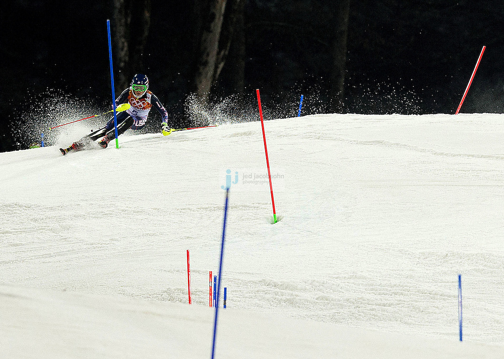Alpine Skiing: 2014 Winter Olympics: USA Mikaela Shiffrin (6) in action during Women's Slalom Run 2 at Rosa Khutor Alpine Center. Shiffrin won gold. Krasnaya Polyana, Russia 2/21/2014 CREDIT: Jed Jacobsohn (Photo by Jed Jacobsohn /Sports Illustrated)