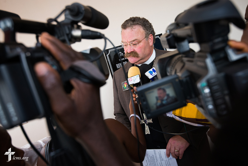 LCMS President Rev. Dr . Matthew C. Harrison interviews with media at the dedication of the Lutheran Theological Seminary of the Evangelical Lutheran Church of Ghana on Sunday, Feb. 2, 2014, in Greater Accra, Ghana. LCMS Communications/Erik M. Lunsford