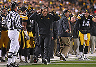 October 10, 2009: Iowa head coach Kirk Ferentz during the first half of the Iowa Hawkeyes' 30-28 win over the Michigan Wolverine's at Kinnick Stadium in Iowa City, Iowa on October 10, 2009.