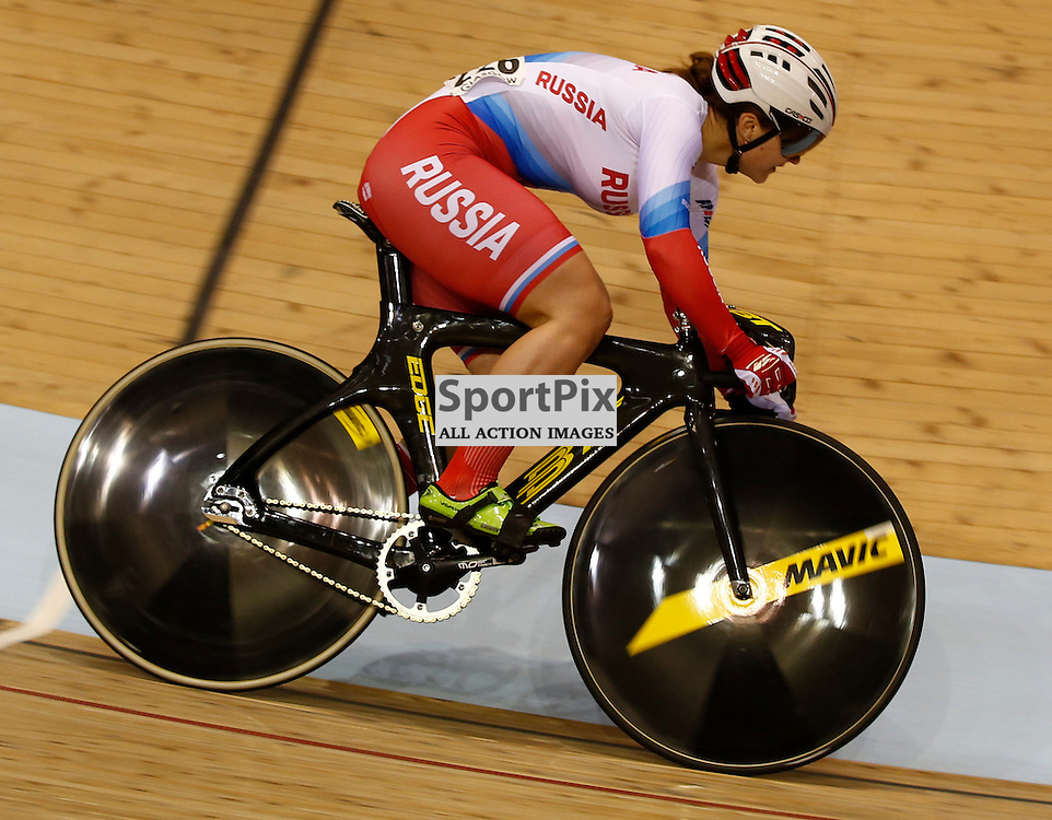 UCI Track Cycling World Cup Glasgow 4th - 6th November 2016. Tatiana Kiseleva (RUS) in the qualifying session for Women's sprint qualifying.....(c) STEPHEN LAWSON | SportPix.org.uk