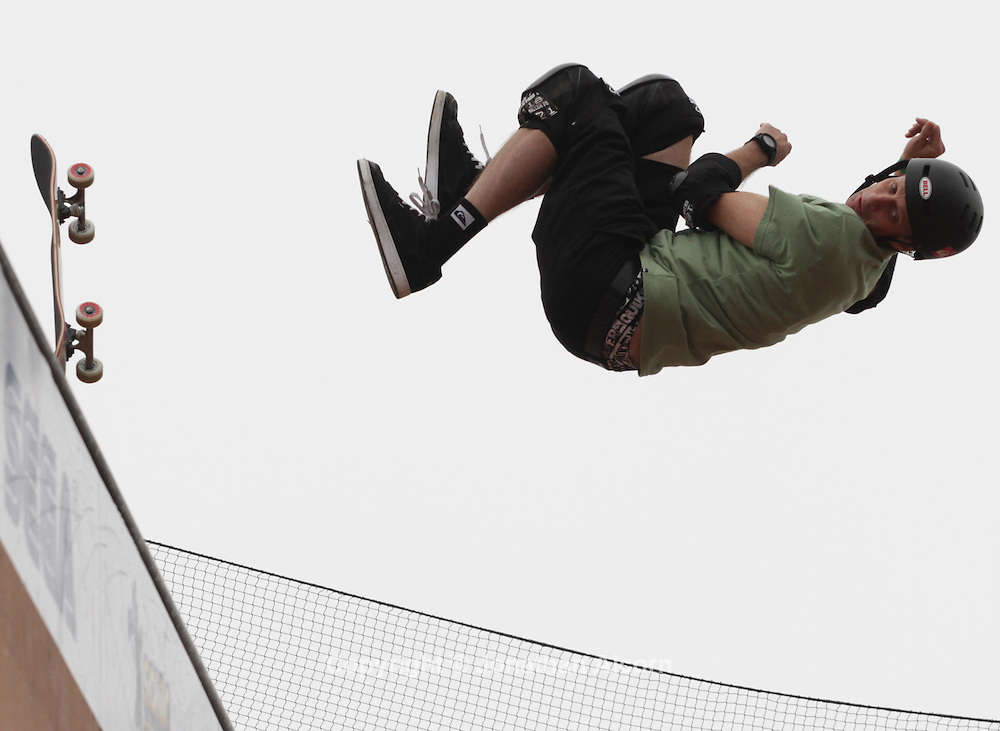 "Tony Hawk competes in the half pipe competition at ""Sonic Generations of Skate"", on Saturday, October 22, 2011, in Venice Beach, California."