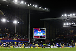 A general view of Goodison Park showing the scoreboard during the match - Photo mandatory by-line: Matt McNulty/JMP - Mobile: 07966 386802 - 26/02/2015 - SPORT - Football - Liverpool - Goodison Park - Everton v Young Boys - UEFA EUROPA LEAGUE ROUND OF 32 SECOND LEG