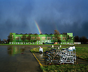 Rainbow after heavy rain at RAF Scampton, home to the 'Red Arrows', Britain's Royal Air Force aerobatic team,