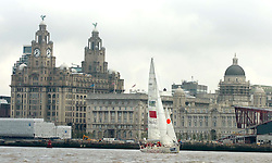 LIVERPOOL, ENGLAND - Saturday, July 5, 2008: Qingdao Clipper sails past Liverpool's famous Liver Buildings at the finishing leg of the Clipper 07-08 Round the World Yacht Race on the River Mersey. (Pic by David Rawcliffe/Propaganda)