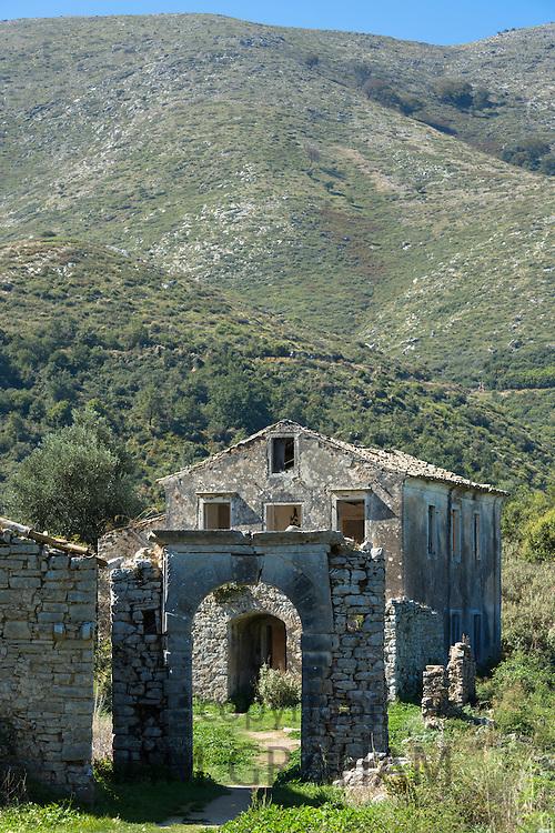 Ruins of Skordilis Mansion house in oldest village of Corfu - ancient mountain village Old Perithia - Palea Peritheia, Greece