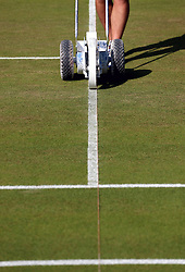 Grounds staff prepare the courts at the start of day seven of the Wimbledon Championships at the All England Lawn Tennis and Croquet Club, Wimbledon.