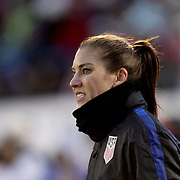 USA goalkeeper Hope Solo during team warm up before the USA Vs Colombia, Women's International friendly football match at the Pratt & Whitney Stadium, East Hartford, Connecticut, USA. 6th April 2016. Photo Tim Clayton