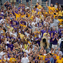 19 September 2009: LSU Tigers fans cheer from the stands during a 31-3 win by the LSU Tigers over the University of Louisiana-Lafayette Ragin Cajuns at Tiger Stadium in Baton Rouge, Louisiana.