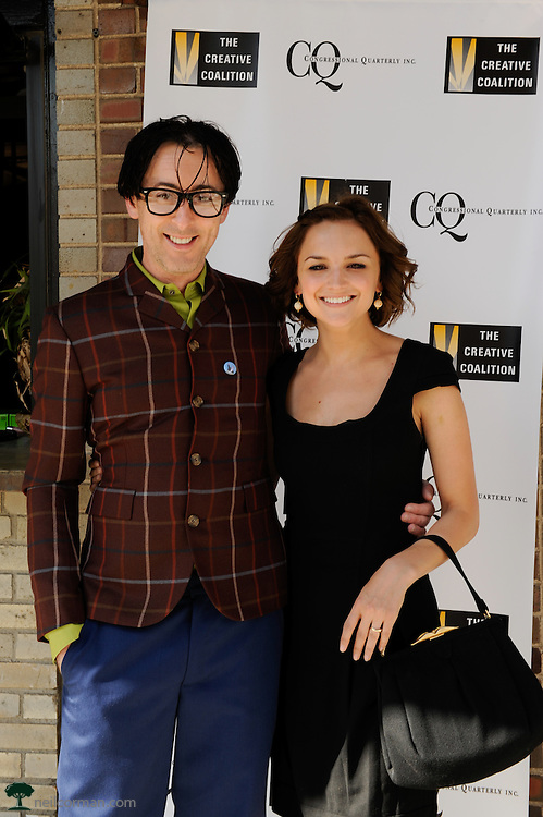 August 27, 2008 - Alan Cumming and Rachel Leigh Cook prior to attending a Creative Coalition event during the Democratic National Convention in Denver.