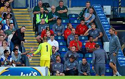BLACKBURN, ENGLAND - Thursday, July 19, 2018: Liverpool's goalkeeper Loris Karius shakes hands with supporters as walks to the bench after being substituted during a preseason friendly match between Blackburn Rovers FC and Liverpool FC at Ewood Park. (Pic by David Rawcliffe/Propaganda)