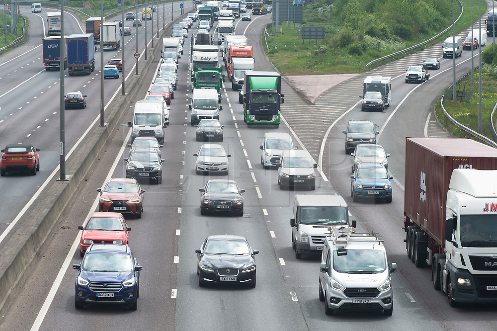 © Licensed to London News Pictures. 03/05/2019.<br /> Dartford,UK. Heavy getaway traffic on the M25 near Dartford in Kent this afternoon as people hit the roads for the May bank holiday weekend. Photo credit: Grant Falvey/LNP