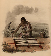Indian woman winding cotton yarn. Hand-coloured engraving published Rudolph Ackermann, London, 1822.