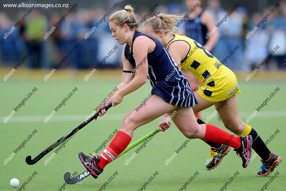 Mallory Cooper of St Hildas Collegiate looks to control the ball, during the Federation Cup final between St Hildas Collegiate College and Wairarapa College, held at the McMillan Hockey Centre, Dunedin, New Zealand, 5 September 2014. Credit: Joe Allison / allisonimages.co.nz