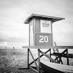 Newport Beach lifeguard tower 20 black and white picture. Newport Beach is a popular coastal city in Orange County, Southern California. Image Copyright © 2010 Paul Velgos with All Rights Reserved.
