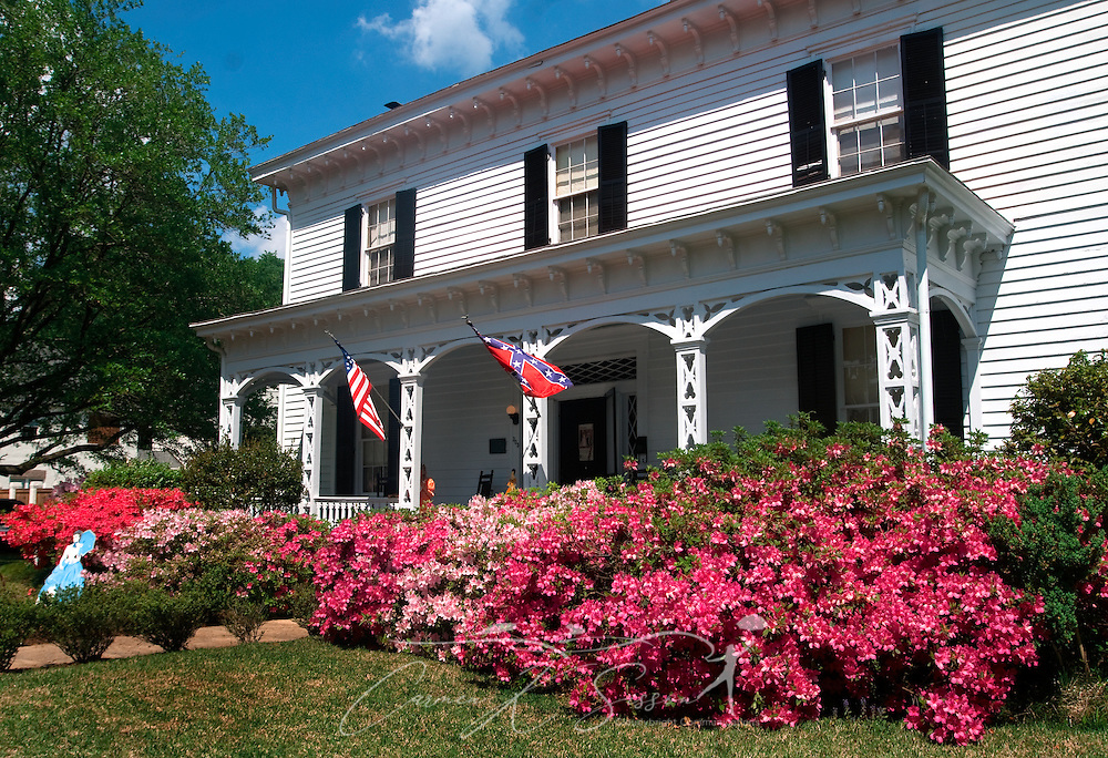 Azaleas bloom in front of the Amzi Love Home in Columbus, Miss. April 17, 2010. The 1848 home, which has been featured in Fodor's Travel Guide and The New York Times Travel Magazine, was among nearly two dozen on tour during Columbus' annual Spring Pilgrimage. (Photo by Carmen K. Sisson/Cloudybright)