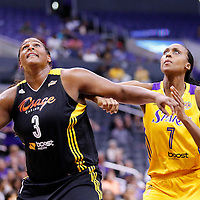 19 June 2014: Los Angeles Sparks forward/center Sandrine Gruda (7) vies for the rebound with Tulsa Shock center Courtney Paris (3) during the Los Angeles Sparks 87-77 victory over the Tulsa Shock, at the Staples Center, Los Angeles, California, USA.