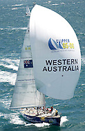 PERTH AUSTRALIA, January 01: westernaustralia.com leads the Clipper fleet out of Fremantle during the start of leg 4 of the 2005/06 Clipper Round The World Yacht Race on January 1, 2006 in Fremantle, Australia. (Photo by Paul Kane)